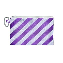 Stripes3 White Marble & Purple Brushed Metal (r) Canvas Cosmetic Bag (medium)