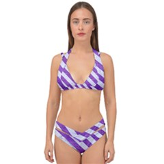 Stripes3 White Marble & Purple Brushed Metal Double Strap Halter Bikini Set