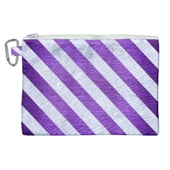 Stripes3 White Marble & Purple Brushed Metal Canvas Cosmetic Bag (xl)