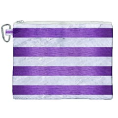 Stripes2white Marble & Purple Brushed Metal Canvas Cosmetic Bag (xxl)