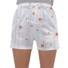 Background Salmon Pink White Motive Sleepwear Shorts