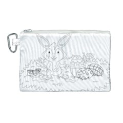 Coloring Picture Easter Easter Bunny Canvas Cosmetic Bag (large) by Sapixe