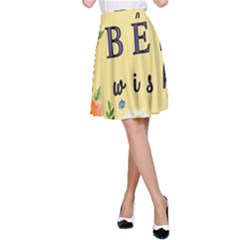 Best Wishes Yellow Flower Greeting A Line Skirt