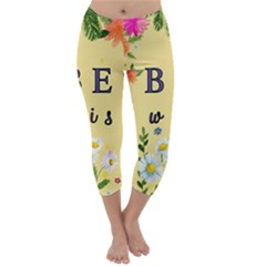 Best Wishes Yellow Flower Greeting Capri Winter Leggings