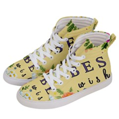 Best Wishes Yellow Flower Greeting Men s Hi Top Skate Sneakers by Sapixe