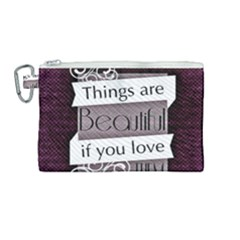 Beautiful Things Encourage Canvas Cosmetic Bag (medium) by Sapixe