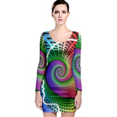 Head Spiral Self Confidence Long Sleeve Bodycon Dress