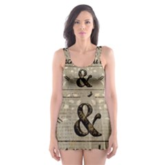 Motivational Calligraphy Grunge Skater Dress Swimsuit