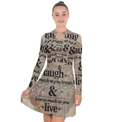 Motivational Calligraphy Grunge Long Sleeve Panel Dress