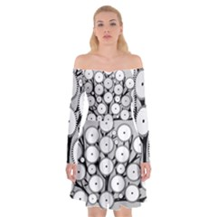 Gears Tree Structure Networks Off Shoulder Skater Dress by Sapixe