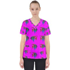 Opposite Way Fish Swimming Scrub Top
