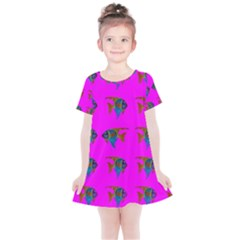 Opposite Way Fish Swimming Kids  Simple Cotton Dress