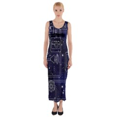 Networks Internet Social Fitted Maxi Dress