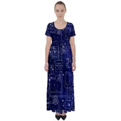 Networks Internet Social High Waist Short Sleeve Maxi Dress