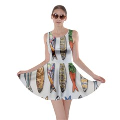 Fish Sardines Motive Pattern Skater Dress by Sapixe