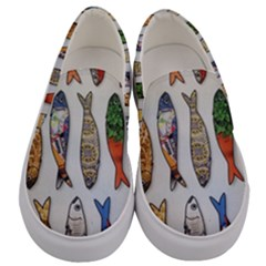Fish Sardines Motive Pattern Men s Canvas Slip Ons