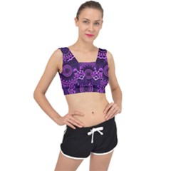 Mandala Purple Mandalas Balance V Back Sports Bra