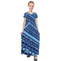 Mobile Phone Smartphone App Kids  Short Sleeve Maxi Dress