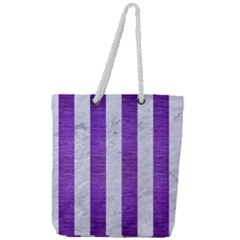 Stripes1 White Marble & Purple Brushed Metal Full Print Rope Handle Tote (large) by trendistuff