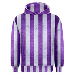 Stripes1 White Marble & Purple Brushed Metal Men s Overhead Hoodie