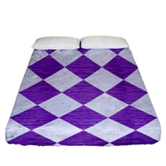 Square2 White Marble & Purple Brushed Metal Fitted Sheet (queen Size) by trendistuff