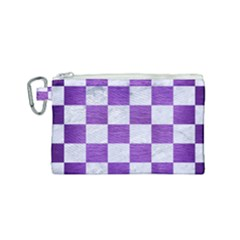 Square1 White Marble & Purple Brushed Metal Canvas Cosmetic Bag (small) by trendistuff