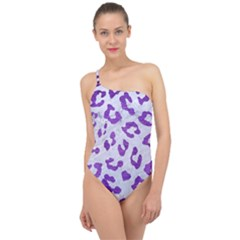 Skin5 White Marble & Purple Brushed Metal Classic One Shoulder Swimsuit