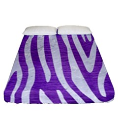 Skin4 White Marble & Purple Brushed Metal (r) Fitted Sheet (queen Size) by trendistuff