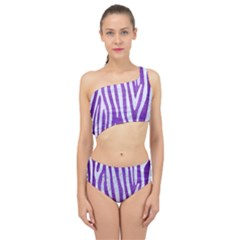 Skin4 White Marble & Purple Brushed Metal (r) Spliced Up Two Piece Swimsuit
