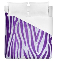 Skin4 White Marble & Purple Brushed Metal Duvet Cover (queen Size) by trendistuff
