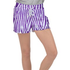 Skin4 White Marble & Purple Brushed Metal Women s Velour Lounge Shorts