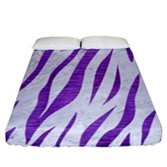 Skin3 White Marble & Purple Brushed Metal (r) Fitted Sheet (queen Size) by trendistuff
