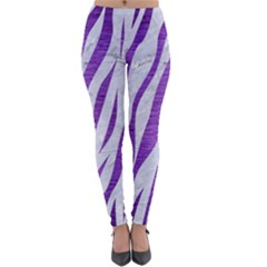Skin3 White Marble & Purple Brushed Metal (r) Lightweight Velour Leggings by trendistuff