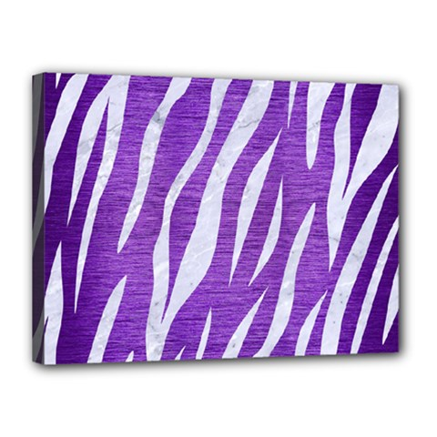 Skin3 White Marble & Purple Brushed Metal Canvas 16  X 12  by trendistuff