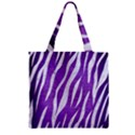 SKIN3 WHITE MARBLE & PURPLE BRUSHED METAL Zipper Grocery Tote Bag View1