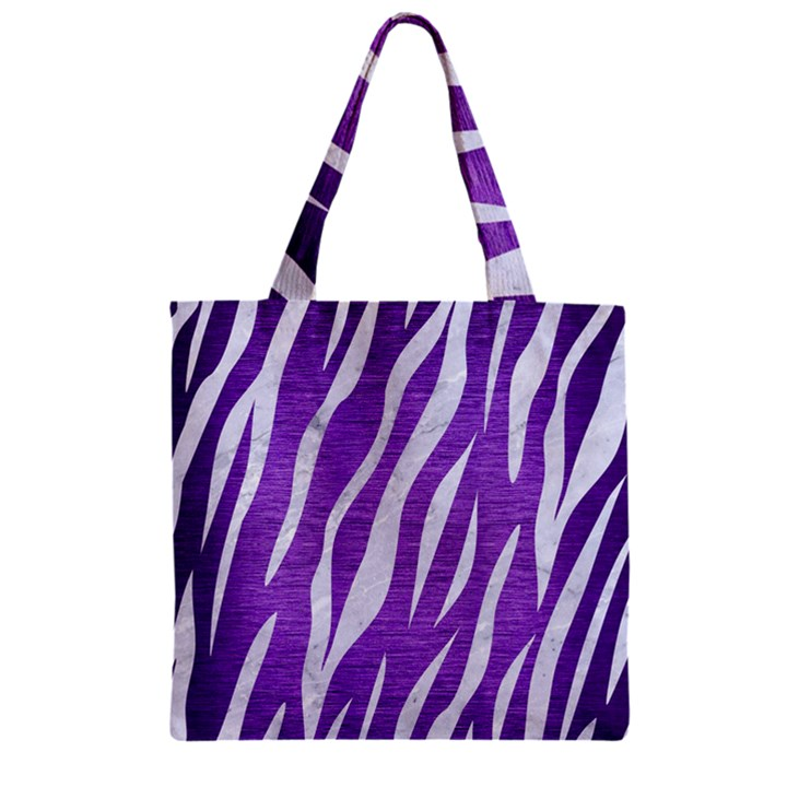 SKIN3 WHITE MARBLE & PURPLE BRUSHED METAL Zipper Grocery Tote Bag