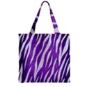 SKIN3 WHITE MARBLE & PURPLE BRUSHED METAL Zipper Grocery Tote Bag View2