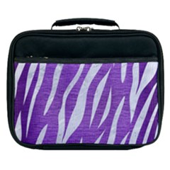Skin3 White Marble & Purple Brushed Metal Lunch Bag