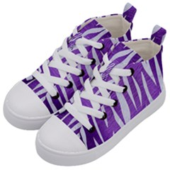 Skin3 White Marble & Purple Brushed Metal Kid s Mid Top Canvas Sneakers by trendistuff