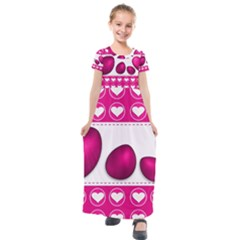 Love Celebration Easter Hearts Kids  Short Sleeve Maxi Dress by Sapixe