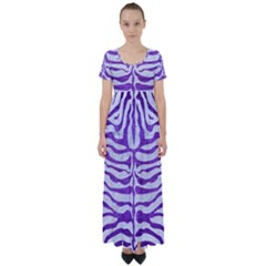 Skin2 White Marble & Purple Brushed Metal (r) High Waist Short Sleeve Maxi Dress