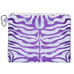 Skin2 White Marble & Purple Brushed Metal (r) Canvas Cosmetic Bag (xxl) by trendistuff
