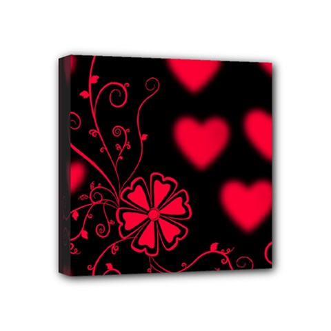 Background Hearts Ornament Romantic Mini Canvas 4  X 4  by Sapixe