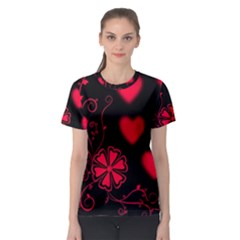 Background Hearts Ornament Romantic Women s Sport Mesh Tee