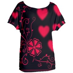 Background Hearts Ornament Romantic Women s Oversized Tee