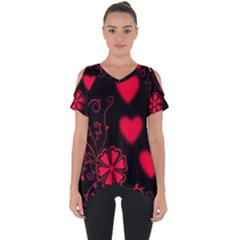 Background Hearts Ornament Romantic Cut Out Side Drop Tee