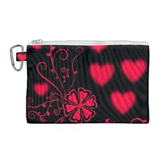 Background Hearts Ornament Romantic Canvas Cosmetic Bag (large) by Sapixe