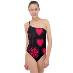 Background Hearts Ornament Romantic Classic One Shoulder Swimsuit