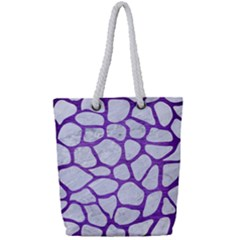 Skin1 White Marble & Purple Brushed Metal Full Print Rope Handle Tote (small) by trendistuff