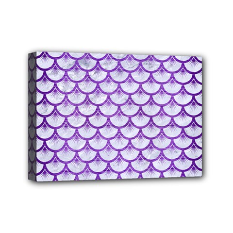 Scales3 White Marble & Purple Brushed Metal (r) Mini Canvas 7  X 5